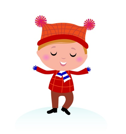 warm color: Little Boy in winter costume isolated on white - vector cartoon