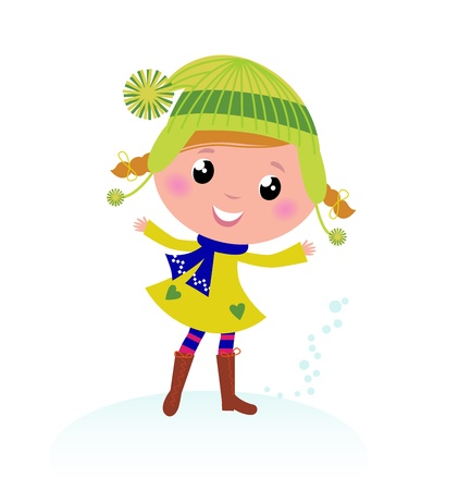 seasonal clothes: Little Winter Kid isolated on white - vector cartoon