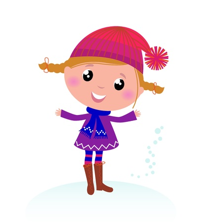 warm clothing: Little Girl in winter cosume isolated on white - vector cartoon