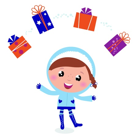 Little christmas child with presents Vector