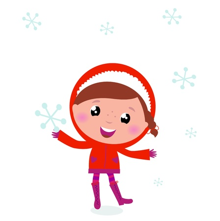 Little Child in winter costume isolated on white Vector