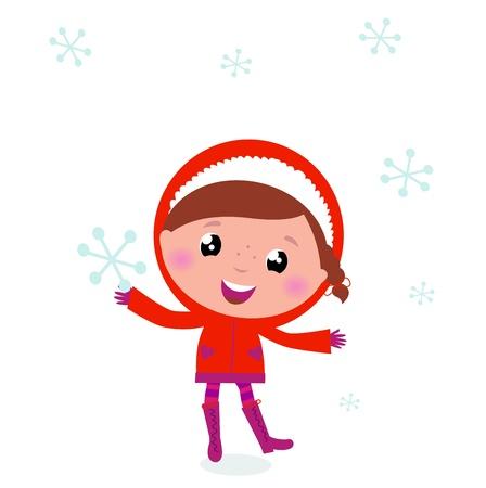 esquimal: Ni�o peque�o en traje de invierno aislado en blanco Vectores