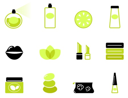 Vector collection of modern cosmetics and spa icons.  Vector