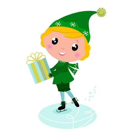 boy skating: Cute Christmas ice skating Elf with Gift isolated on white. Vector cartoon Illustration.