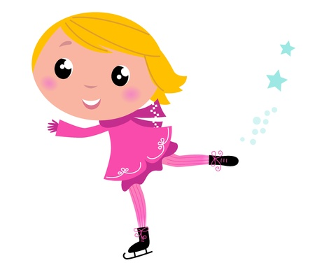 little skate: Cute little Christmas Girl ice skating cartoon Illustration. Illustration