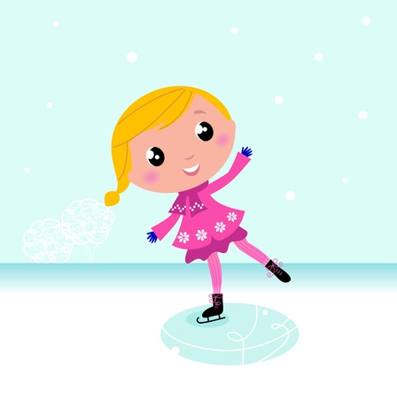 figure skater: Cute little Christmas Girl ice skating. Vector cartoon Illustration.