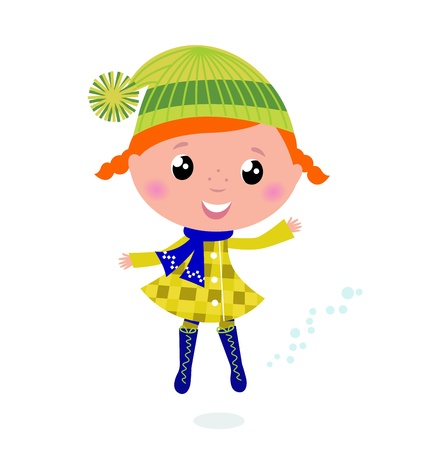 warm clothing: Happy cute little Christmas Child - vector cartoon Illustration