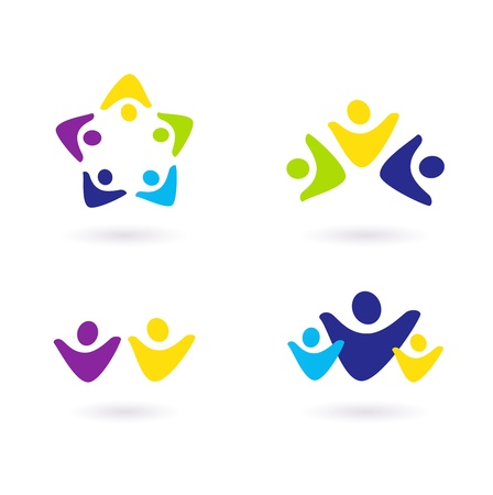 community service: Business & community people icon collection. Vector