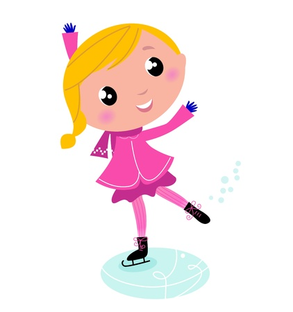 Figure skating Girl in pink costume. Vector cartoon Illustration