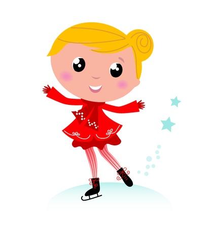 patinaje sobre hielo: El patinaje artístico infantil en navidad traje rojo. Vector de dibujos animados Vectores