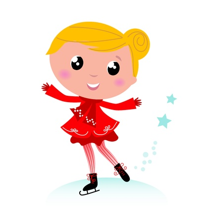 Figure skating child in christmas red costume. Vector cartoon Illustration