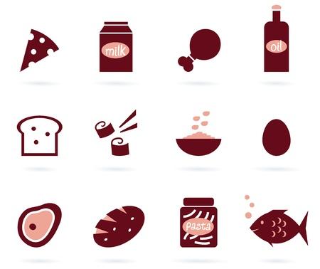 12 artículos alimenticios. Elegante Estilizar grupo de diversos objetos vectoriales.