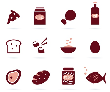 white bread: 12 food items. Elegant stylize group of various vector objects. Illustration