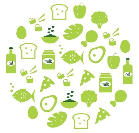 broccoli: Food items in circle. Vector cartoon illustration.