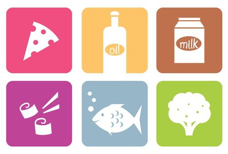 food groups: Food colorful design blocks collection - vector illustration