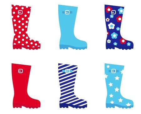 Collecton d'accessoires bottes bottes en caoutchouc. Vector illustration. Vecteurs