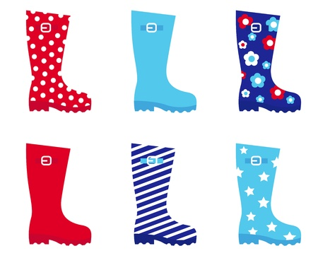 botas de lluvia: Collecton de botas de agua accesorios botas. Ilustración vectorial.