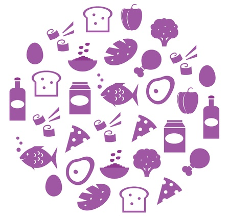 lifestyle dining: Food items in circle. Vector cartoon illustration.