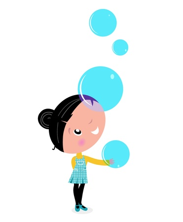 dreamy: Cute little Child with Soap Bubbles. Vector cartoon Illustration.