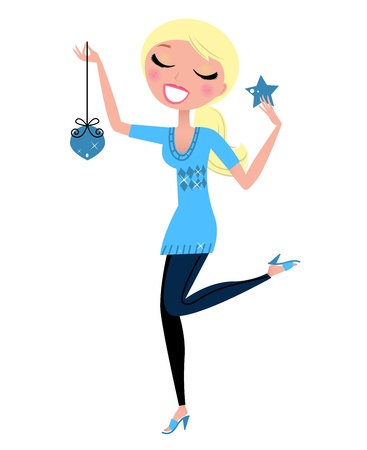 young lady: Blond cute Girl with Christmas decoration. Vector cartoon Illustration. Illustration