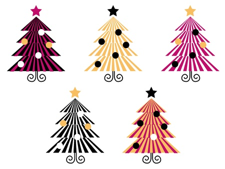 simple line drawing: Christmas Trees collection with geometrical look. Vector collection. Illustration