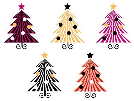 Kerstbomen inzameling met geometrische look. Vector collectie. Stock Illustratie