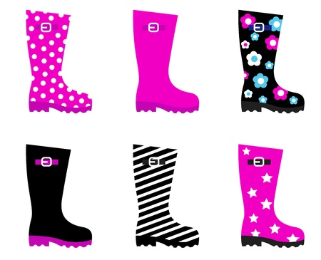 wellies: Collecton of wellies boots accessories. Vector illustration.