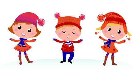 seasonal clothes: Collection of cute winter children. Vector cartoon Illustration.