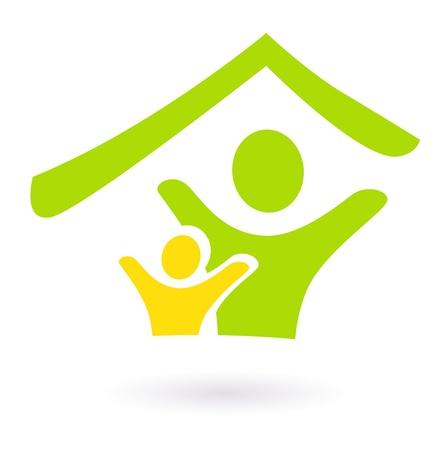 housing project: Dos personas en el icono de techo. Ilustraci�n vectorial