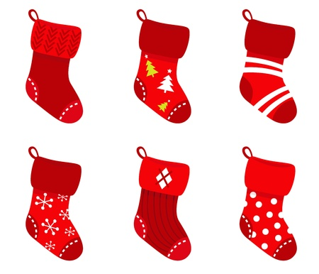 seasonal symbol: Cute Christmas Socks set - vector cartoon Illustration Illustration