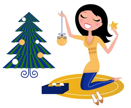 rituals: Christmas ritual - happy smiling Christmas Woman decorating Christmas Tree. Vector Illustration.