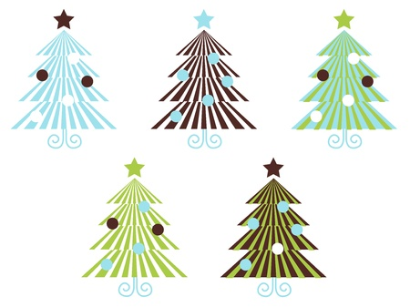 60th: Christmas Trees set in geometrical clean style. Vector Illustration.
