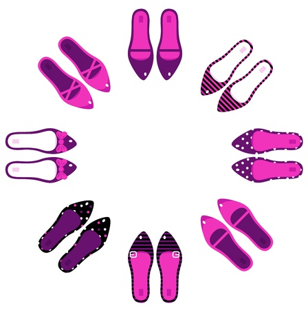 Collection of female shoes. Vector