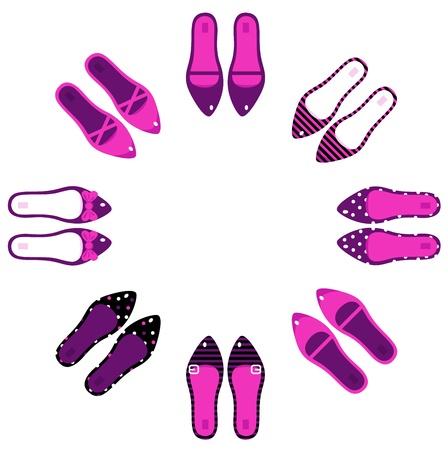 Het verzamelen van sexy vrouwelijke schoenen. Vector