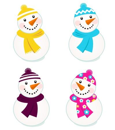 boule de neige: Collection de Bonhomme de neige mignons vecteur.