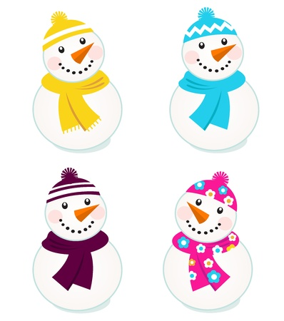 Vector cute snowman collection. Vector