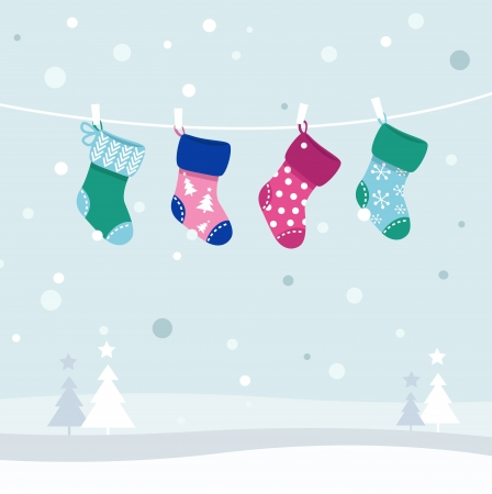 Colorful retro Stockings in winter nature. Vector Illustration.