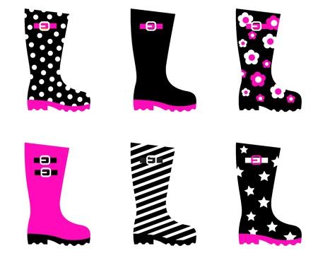botas de lluvia: Colecci�n de accesorios de moda las botas aislados en blanco. Vector de colecci�n