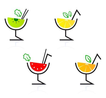 caribbean party: Colecci�n de c�cteles de frutales estilizadas retro. Ilustraci�n vectorial.