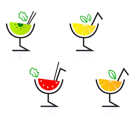 watermelon juice: Collection of retro stylized fruity cocktails. Vector Illustration.