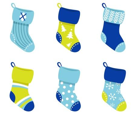 Cute Christmas Socks set - vector cartoon Illustration Vector