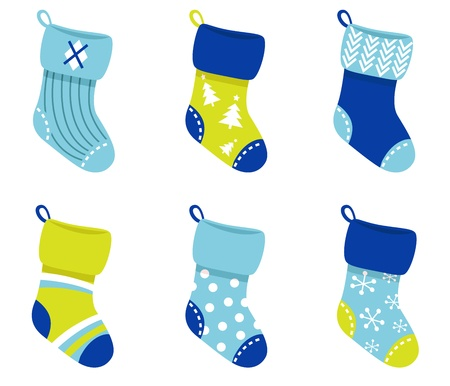 white socks: Cute Christmas Socks set - vector cartoon Illustration Illustration