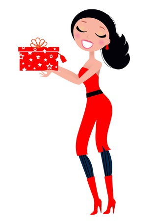 happy new year cartoon: Sexy pretty Woman with Christmas Gift. Vector illustration