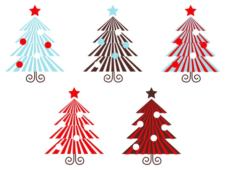 Stylized vector christmas Trees collection in graphic style. Stock Vector - 10971254