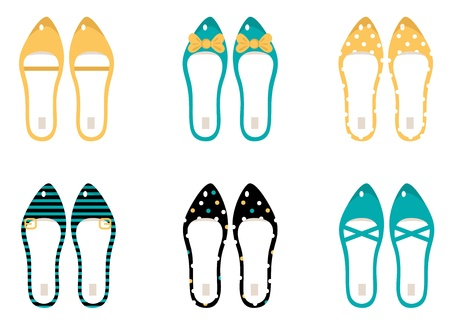 Cute Shoes collection. Vector Illustration.
