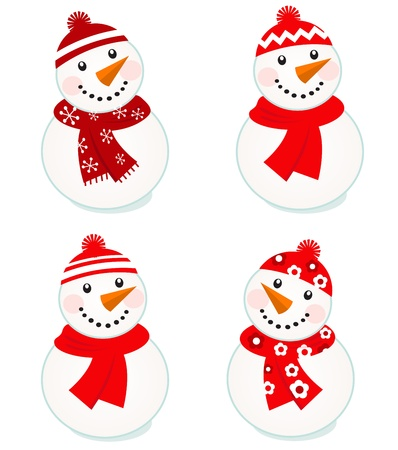 Vector cute snowman red collection. Illustration
