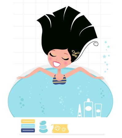 Young pretty woman relaxing in whirlpool. Vector Illustration in retro style.