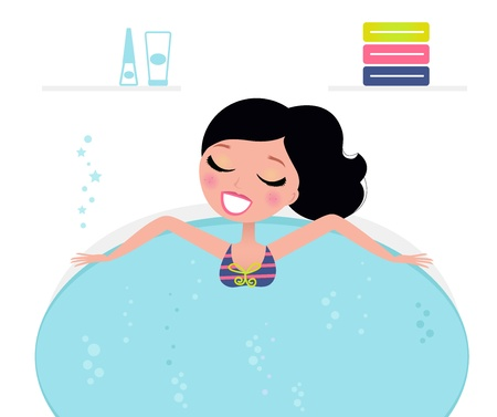 Woman relaxing in whirlpool isolated on white. Vector Illustration in retro style Vector