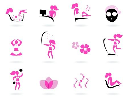 mimos: Colecci�n de iconos de bienestar femenino y el deporte. Ilustraci�n vectorial