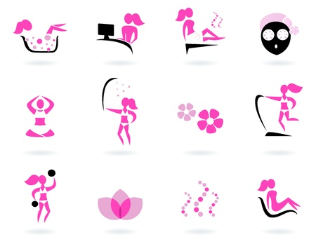 pampering: Collection of female wellness and sport icons. Vector illustration